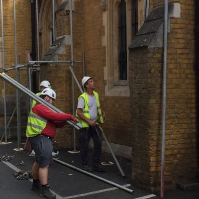 First scaffolding erected outside church, June 2017