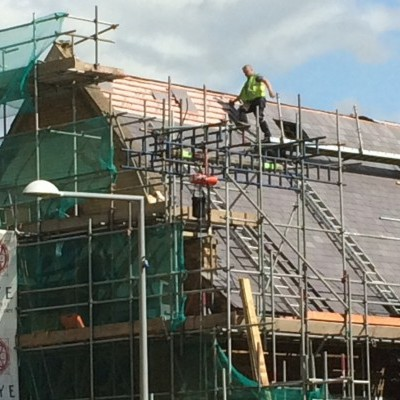 Slating in progress on nave south roof, Sept 2017