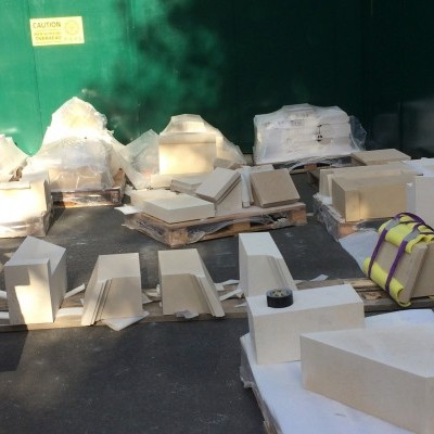 Delivery of prepared new stone, Oct 2017