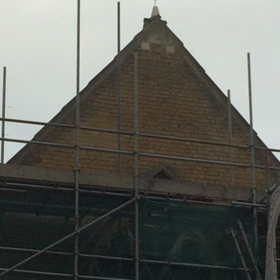 Cross installed on new stonework at east end of church, Dec 2017