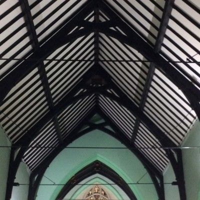 Ceiling plaster renewed and repainted, and clear of scaffolding in time for Christmas