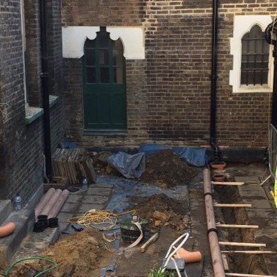 Scaffolding removed, final phase is new drains in courtyard to take water diverted from valley gutter above cloister passage, Feb 2018